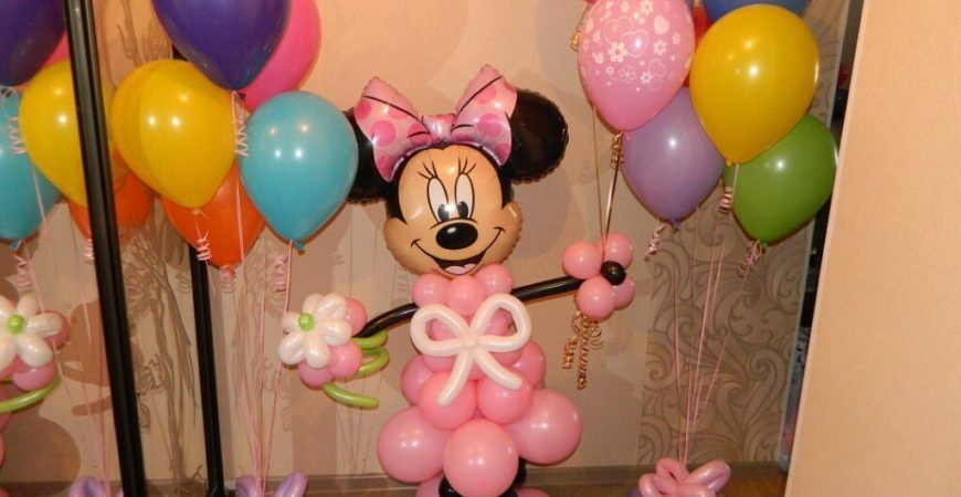 Фигурка Минни Маус и гелиевые шары